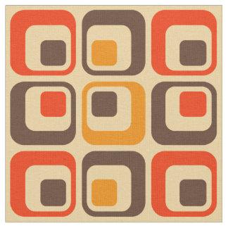 レトロの正方形パターン-赤、ブラウン及びオレンジ ファブリック