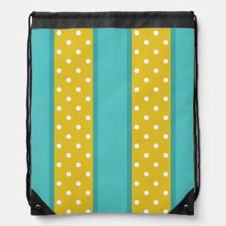 レトロの水の青く黄色い水玉模様のストライプなパターン ナップサック