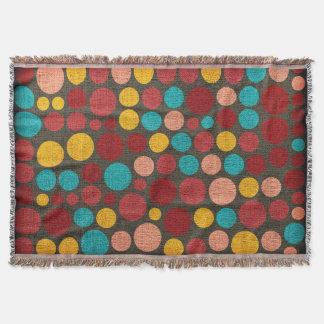レトロの水玉模様の色彩の鮮やかなキャンバス#3 スローブランケット