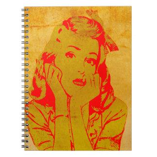 レトロの沈痛な女の子の破裂音芸術のプリントの螺線形ノート ノートブック