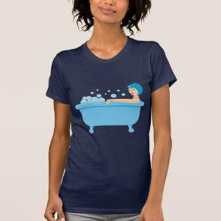 レトロの泡風呂の女の子 Tシャツ
