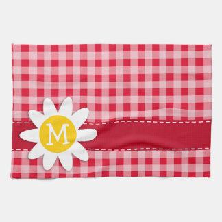 レトロの深紅の赤いギンガムパターンのかわいいデイジー キッチンタオル