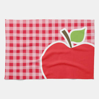 レトロの深紅の赤のギンガムのApple キッチンタオル