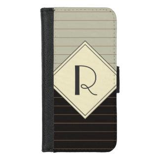 レトロの灰色および黒くストライプなモノグラム iPhone 8/7 ウォレットケース