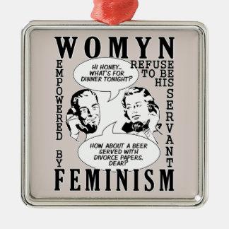 レトロの男女同権主義のユーモアのオーナメント メタルオーナメント