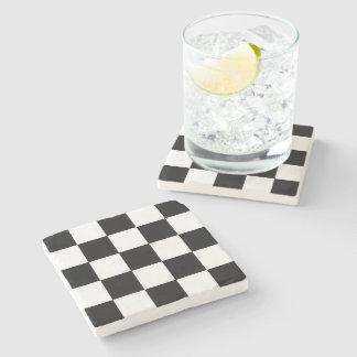 レトロの白黒チェッカーボードの石のコースター ストーンコースター