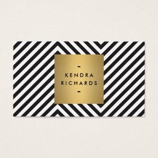 レトロの白黒パターン金ゴールドの名前のロゴ 名刺