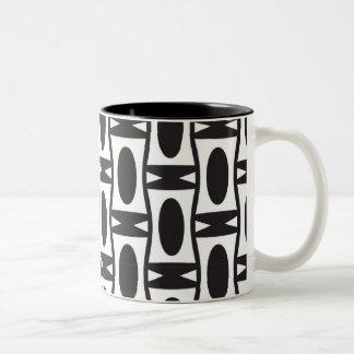 レトロの白黒楕円形 ツートーンマグカップ