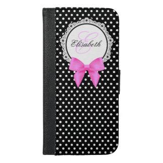 レトロの白黒水玉模様のピンクの弓モノグラム iPhone 6/6S PLUS ウォレットケース