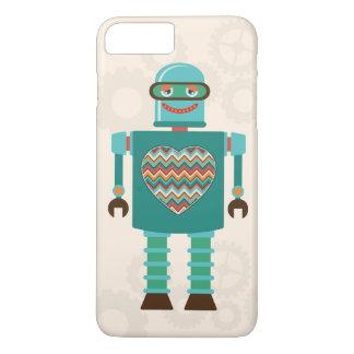 レトロの空想科学小説のロボットハートのカスタム iPhone 8 PLUS/7 PLUSケース