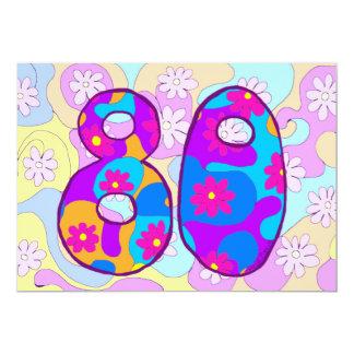 レトロの第80誕生日のパーティの招待状 12.7 X 17.8 インビテーションカード