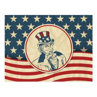 レトロの米国市民星条旗 ポストカード