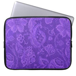 レトロの粋ないくじなしのヴィンテージの花の紫色の紫色 ラップトップスリーブ