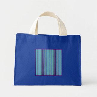 レトロの紫色のストライプの小さいロイヤルブルー ミニトートバッグ