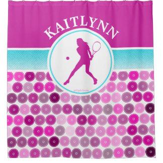 レトロの紫色はテニスの女の子を一周します シャワーカーテン
