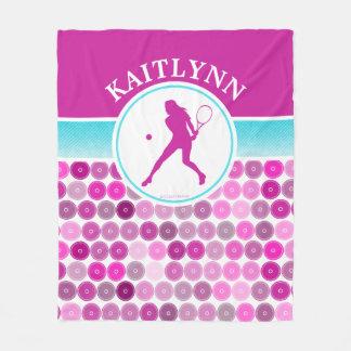 レトロの紫色はテニスの女の子を一周します フリースブランケット