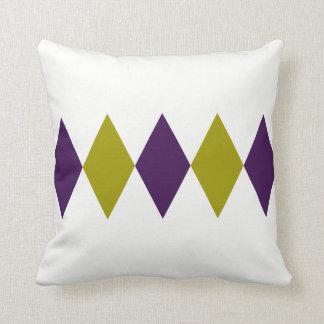 レトロの紫色及び淡黄緑のダイヤモンド クッション