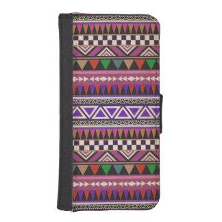 レトロの紫色色のアステカな種族パターン iPhoneSE/5/5sウォレットケース
