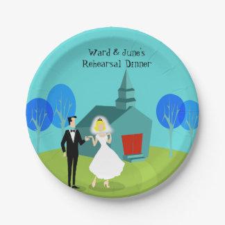 レトロの結婚式のカップルのリハーサルの夕食の紙皿 ペーパープレート