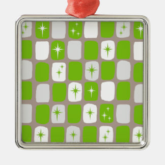 レトロの緑および白いスターバストの正方形のオーナメント メタルオーナメント
