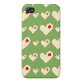レトロの緑および赤い泡ハートパターン iPhone 4 CASE
