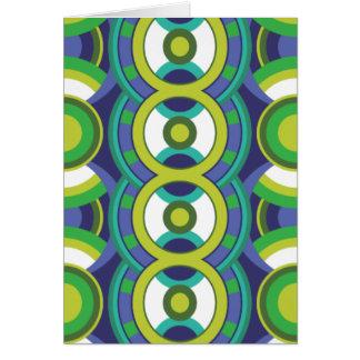 レトロの緑および青の円 カード