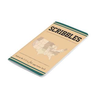 レトロの緑のボーダーはスケッチおよびメモの本を走り書きします ポケットジャーナル