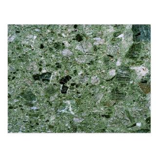 レトロの緑の大理石の石造りの質パターン ポストカード