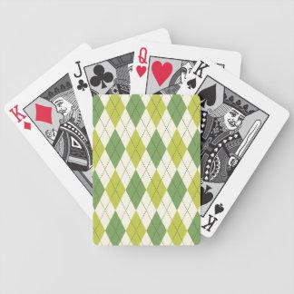 レトロの緑の幾何学的でアーガイル柄のなパターン バイスクルトランプ