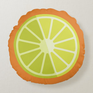 レトロの緑レモンライムのオレンジ|の円形のクッション ラウンドクッション