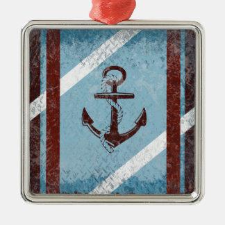 レトロの航海のないかりの赤く青くグランジな動揺して メタルオーナメント