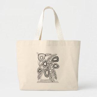 レトロの花つぼの線画のデザイン ラージトートバッグ