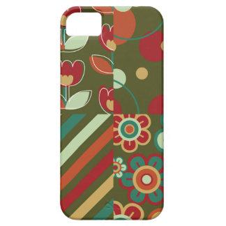 レトロの花のデイジーのストライプなドット・パターンのおもしろい iPhone SE/5/5s ケース