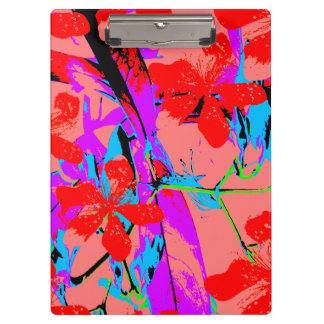 レトロの花のピンク クリップボード