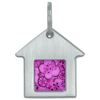 レトロの花の抽象芸術のマゼンタのピンクのペットタグ ペットネームタグ