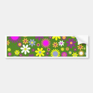 レトロの花パターン- 70年代の花の壁紙 バンパーステッカー