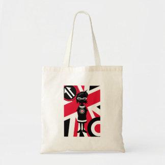 レトロの英国国旗のモダンな女の子のシルエット トートバッグ