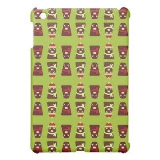 レトロの茶色及び緑のかわいいモンスターパターン iPad MINI カバー