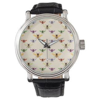 レトロの虹の蜂の《昆虫》マルハナバチの自然パターン 腕時計