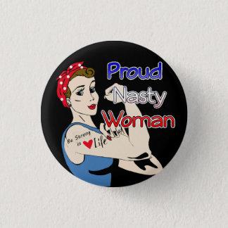 レトロの誇りを持ったで扱いにくい女性ボタンのアンチ切札 3.2CM 丸型バッジ