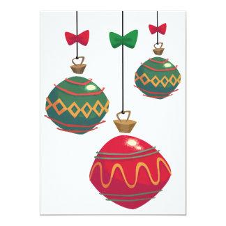 レトロの赤いおよび緑のクリスマスオーナメント カード