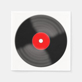 レトロの赤いレコードのパーティーのナプキン スタンダードカクテルナプキン