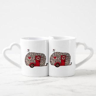 レトロの赤い白黒Glamper ペアカップ
