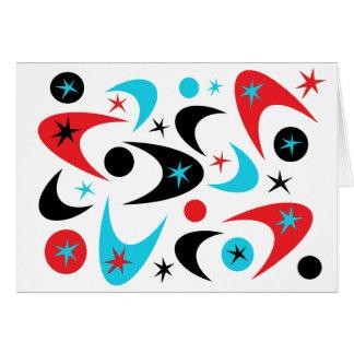 レトロの赤い黒及び水のスターバストのブーメラン カード