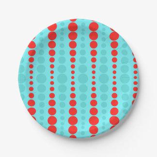 レトロの赤およびターコイズの点の紙皿 ペーパープレート