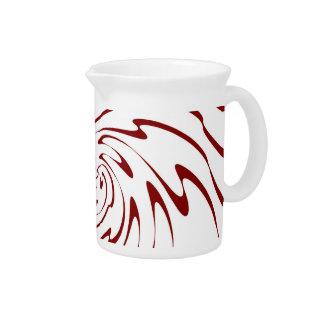 レトロの赤と白の波の抽象美術2 ピッチャー