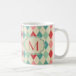 レトロの道化師幾何学的なパターンモノグラム コーヒーマグカップ