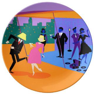 レトロの都市屋上のパーティの磁器皿 磁器プレート