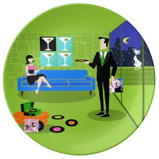 レトロの都市漫画のカップルの磁器皿 磁器プレート