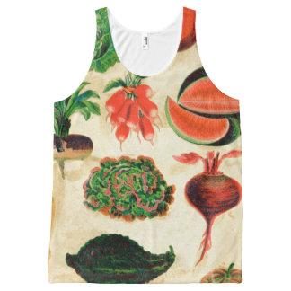 レトロの野菜の動揺してな野菜によって汚される庭 オールオーバープリントタンクトップ